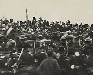 Abraham Lincoln at Gettysburg (seated, center)...