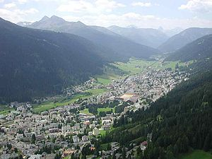 The alpine town of Davos in the Swiss Alps.