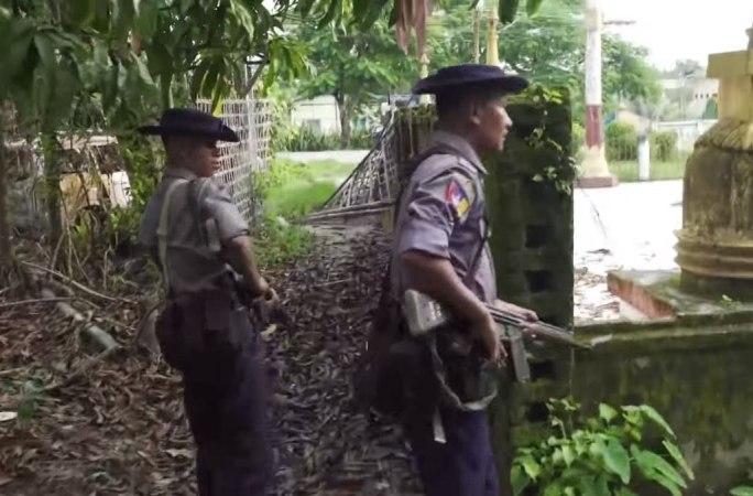 Myanmar police patrolling in Maungdaw