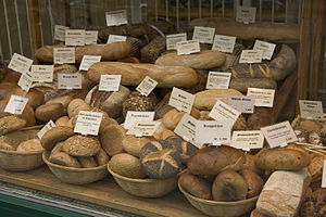 English: Selection of bread in German bakery