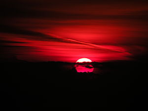 English: A red sunrise over the Black Sea.