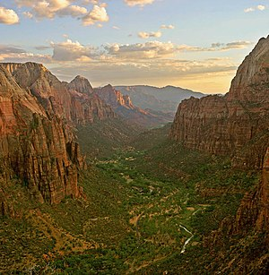 Zion Canyon at sunset in Zion National Park as...