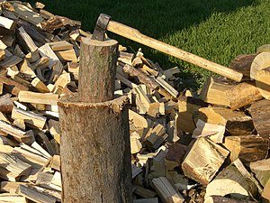 Axe and wood.