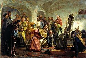 Oprichniki, painting by Nikolai Nevrev.