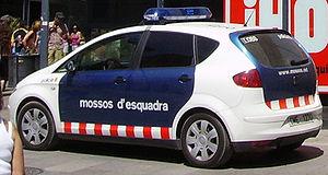 Mossos d'Esquadra police car and plate.