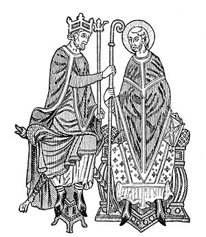 Medieval king investing a bishop with the symb...