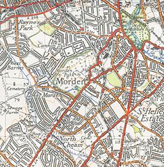 OS map of Morden from 1944 1 inch to the mile