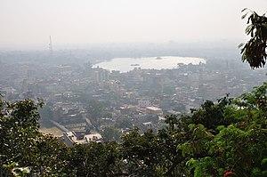 Ranchi from Ranchi Hill. Ranchi lake is visible.