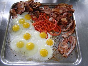English: Bacon and Eggs frying on an electric ...