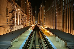 Looking north from Chicago 'L' station Adams a...