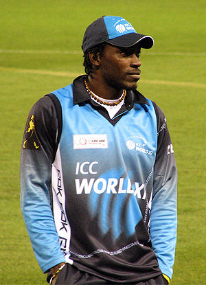 English: Chris Gayle on the field at the Telst...