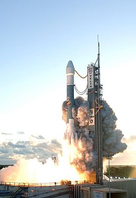 A Delta II rocket launches from Cape Canaveral carrying the Dawn spacecraft.