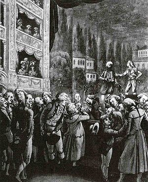 English: Wolfgang Amadeus Mozart (center) atte...