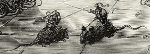 Detail of mice-mounted dueling knights from lo...