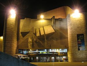English: The Jerusalem Theater at night.