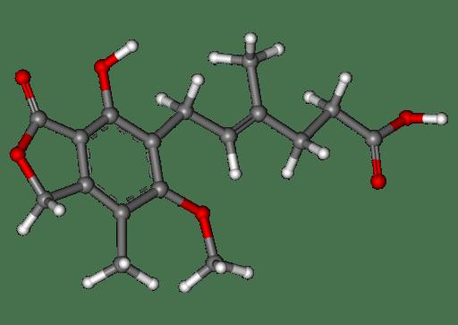 Mycophenolic acid ball and stick