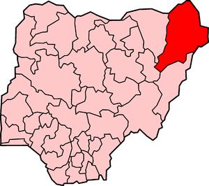 Location of Borno State in Nigeria