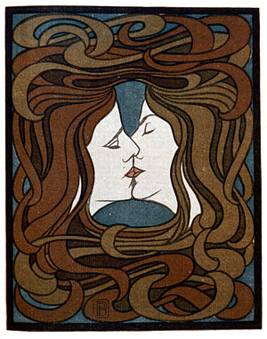 English: Two faces kissing with entwined art-n...