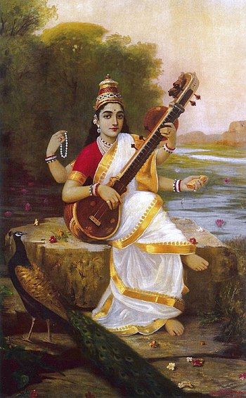 Painting of the Goddess Saraswati by Raja Ravi...