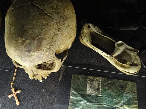 Skull and Belongings of Genocide Victims - Genocide Memorial Center - Kigali - Rwanda