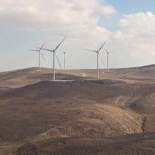 Five windmills in the desert
