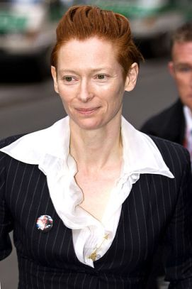 Tilda Swinton, arrival for press conference of...