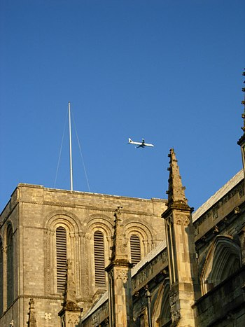 English: Winchester Cathedral A plane - no dou...