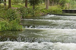 Deutsch: Die Fischtreppe in der Maas am Stau /...