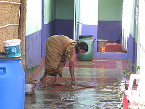 An Indian woman housekeeps work.