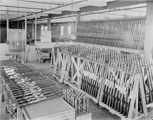 English: Inside the Ross Rifle Factory, Quebec...