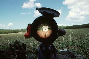 A view through the 20-X power telescopic gunsi...