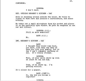 Screenplay sample, showing dialogue and action...