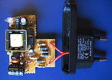 Switched mode power supply   Wikipedia This charger for a small device such as a mobile phone is a simple off line switching  power supply with a European plug  The simple circuit has just two