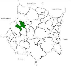 Español: Localización de Temixco en el estado ...