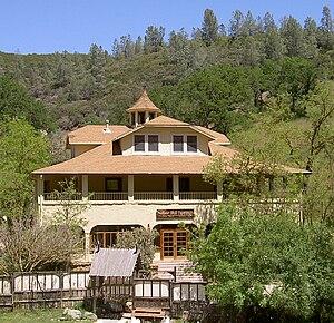 Front of lodge at Wilbur Hot Springs resort in...