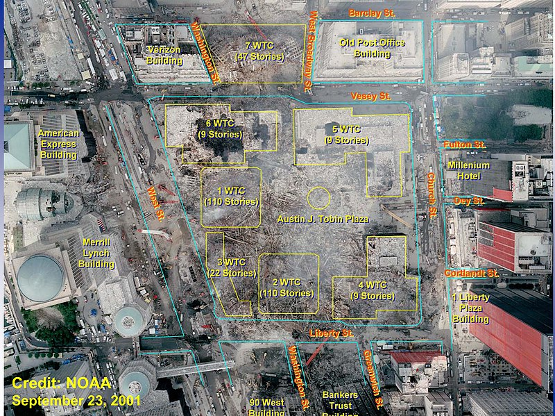 File:World Trade Center Site After 9-11 Attacks With Original  Building Locations.jpg