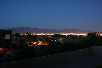 English: Dusk in Albuquerque, New Mexico, take...