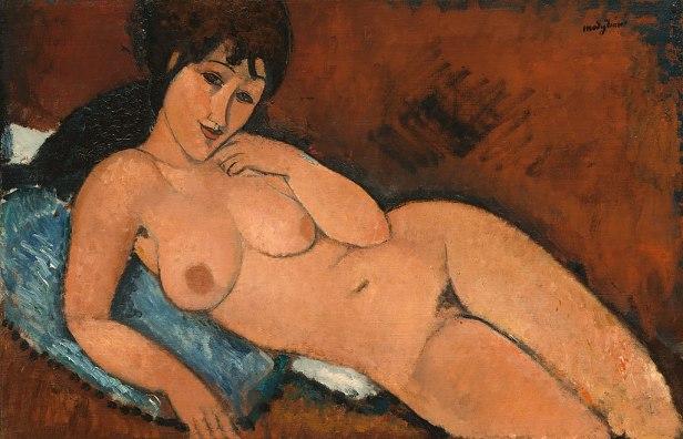 Amedeo Modigliani - Nude on a Blue Cushion (1917)
