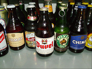 A set of beer bottles
