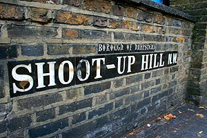 A heritage road sign made of ceramic letters, ...
