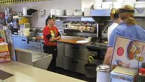 Waitresses working at Waffle House, Fort Worth...