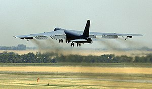 A B-52H bomber departs Minot Air Force Base.