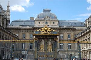 The Palais de Justice in Paris, with gates of ...