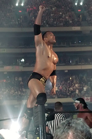 English: The Rock at WrestleMania X8. Skydome,...