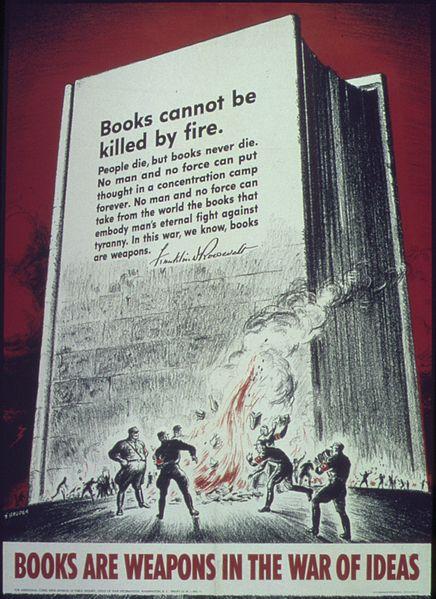 World War II propoganda poster quoting from Franklin Roosevelt's declaration that