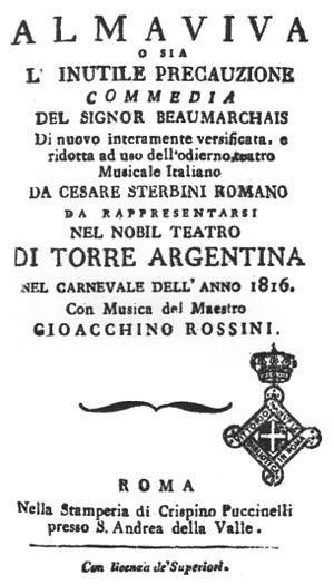 English: Title page of the original libretto o...
