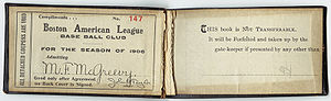 A season pass for the 1906 season.