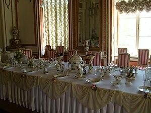 English: DIning Room of Kuskovo Palace, Moscow