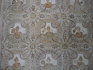 An ancient Roman mosaic in El Jem Museum in Tu...