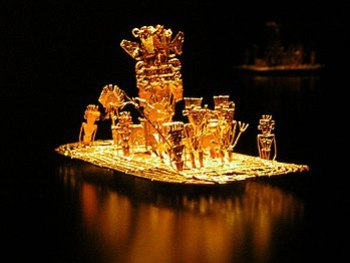 Muisca raft, representation of the initiation ...